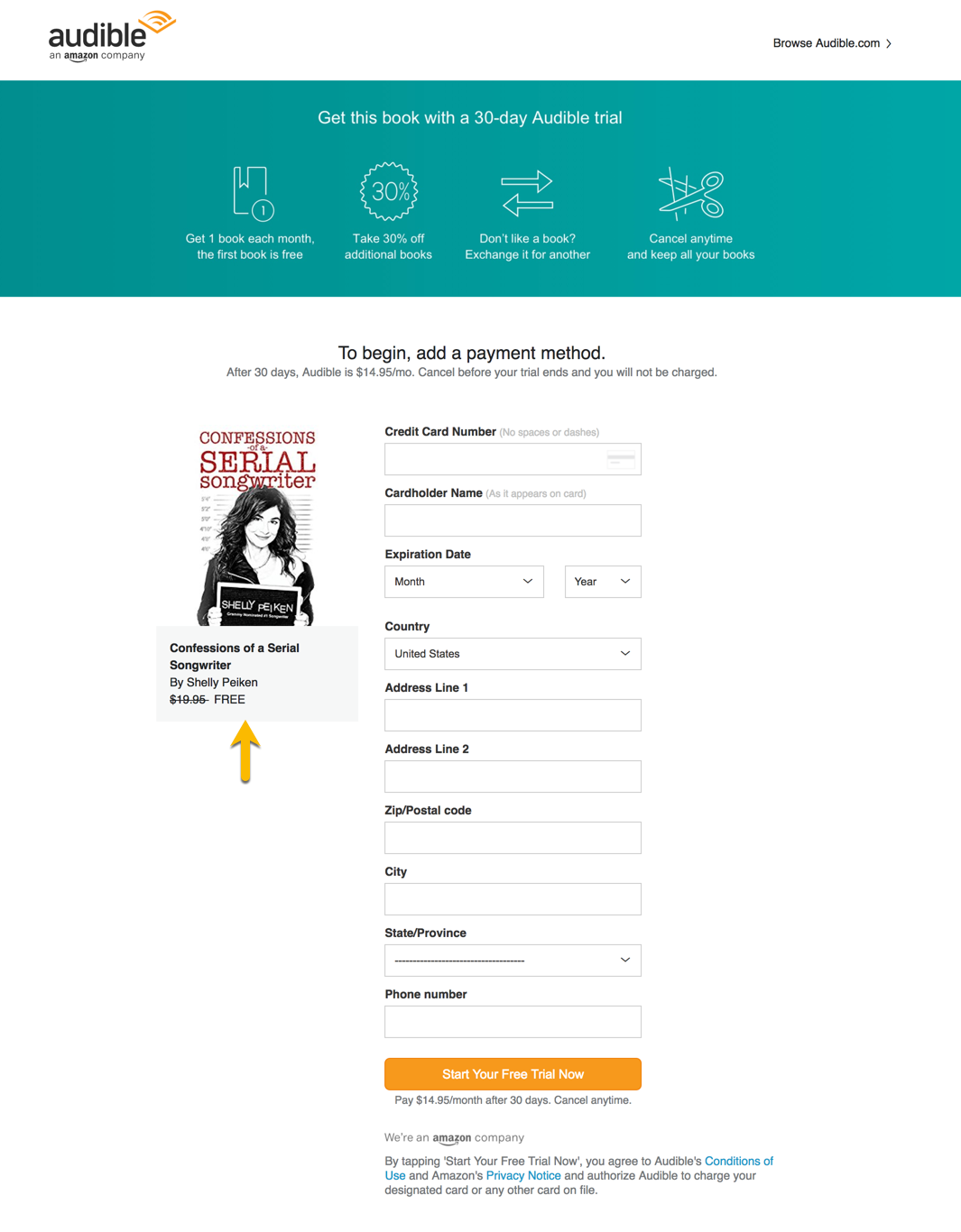 Audible Account Sharing creating your custom audible 30-day free trial link