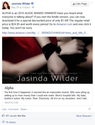 Jasinda Wilder Alpha Facebook Ad